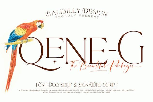Qene-G - Serif & Signature Script Font Duo - product preview 14