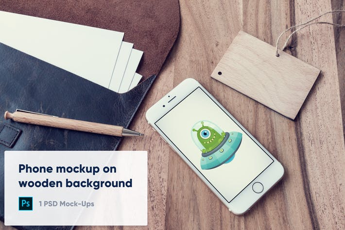 Thumbnail for Phone on Wooden Background - PSD Mockup