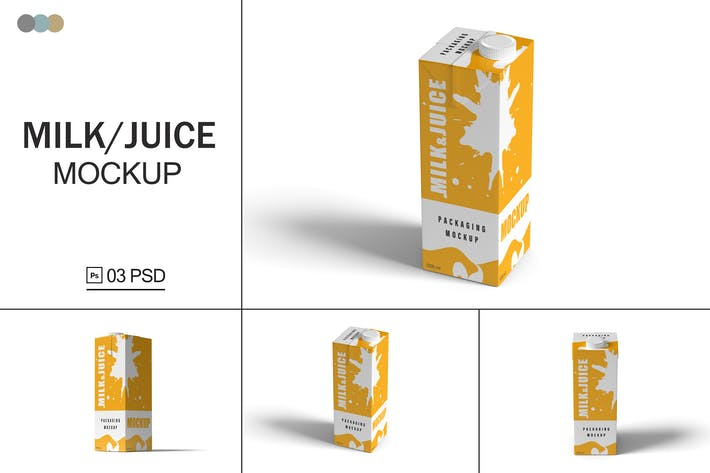Thumbnail for Milk and Juice Packaging Mockups