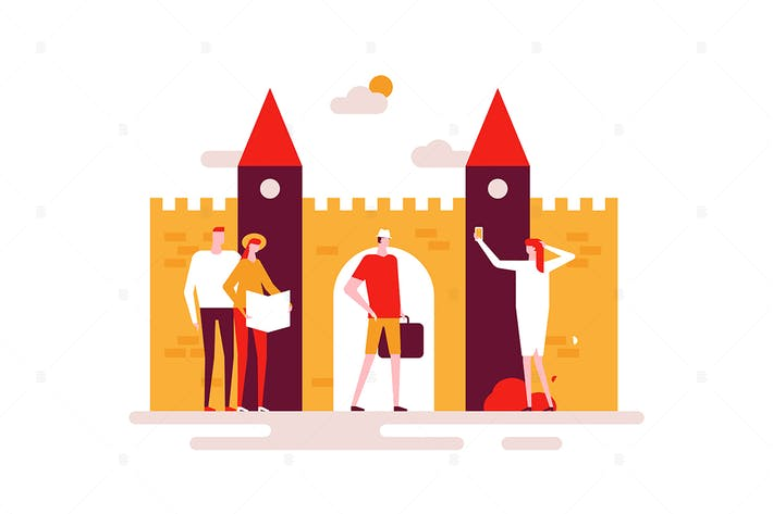 Sightseeing tour - flat design style illustration