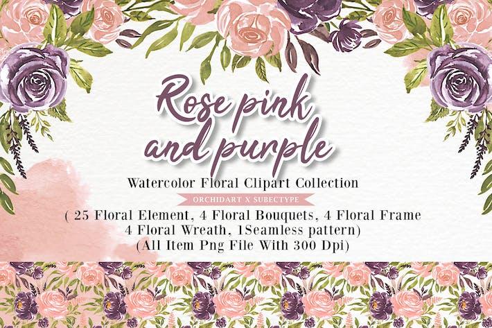 Thumbnail for Розовая розовая и фиолетовая акварель