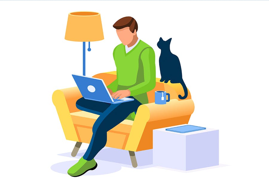 Abrstract Working at Home Concept Trendy Boy Work