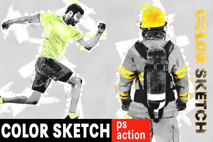 Thumbnail for Color Sketch Photoshop Action