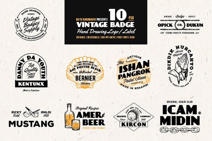 Thumbnail for 10 Vintage Badges Drawing