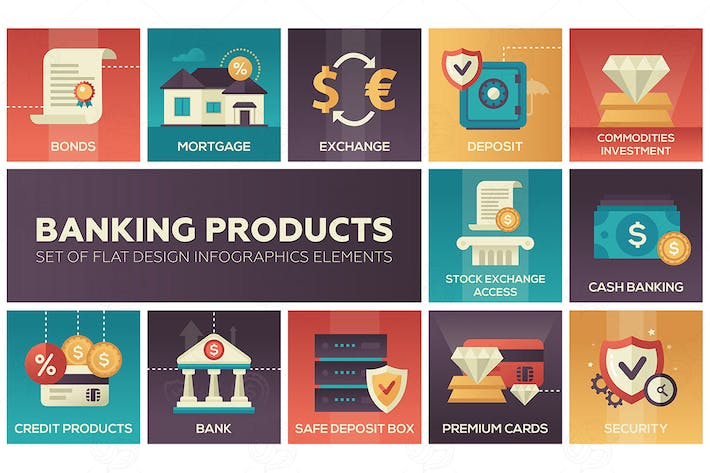 Thumbnail for Banking products - set of flat design icons