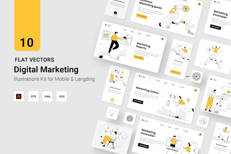 Digital Marketing Vectors Illustration Flat Line