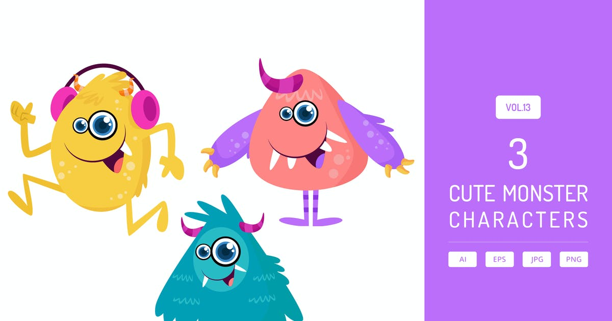 Download Cute Monster Characters Vol.13 by Graphiqa