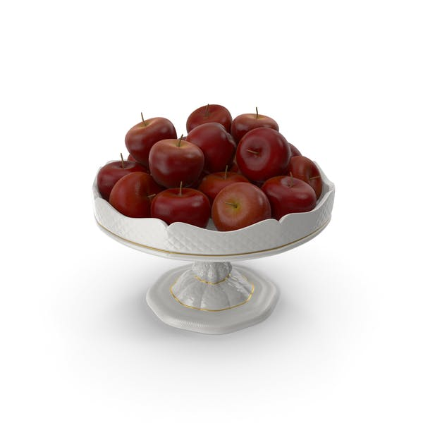 Thumbnail for Fancy Porcelain Bowl with Red Apples