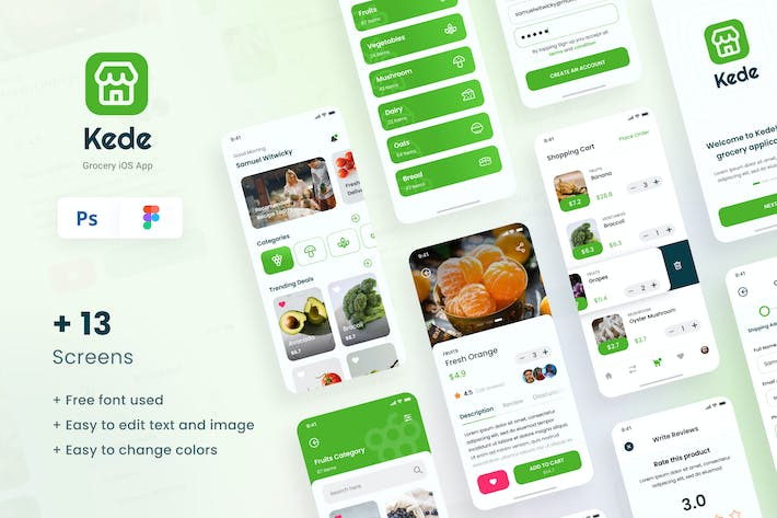 Thumbnail for Kede - Grocery iOS App Design UI Template