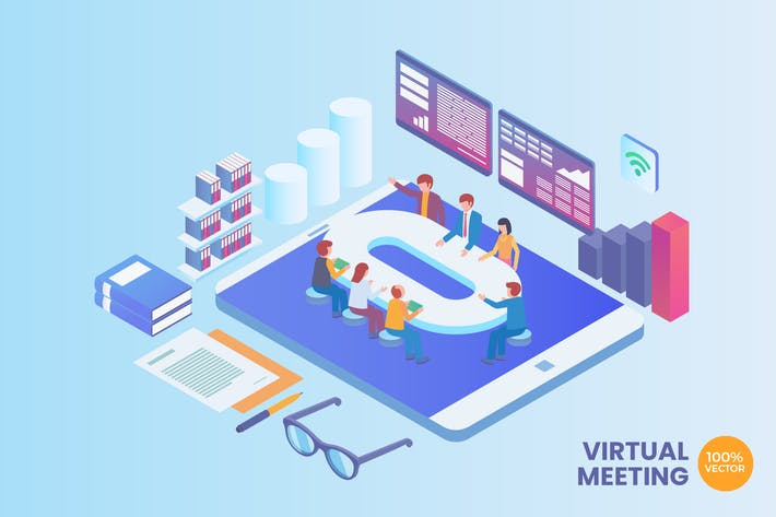 Thumbnail for Isometric Virtual Business Meeting Vector Concept