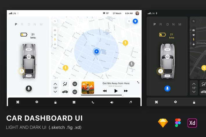 Thumbnail for Car Dashboard UI Kit