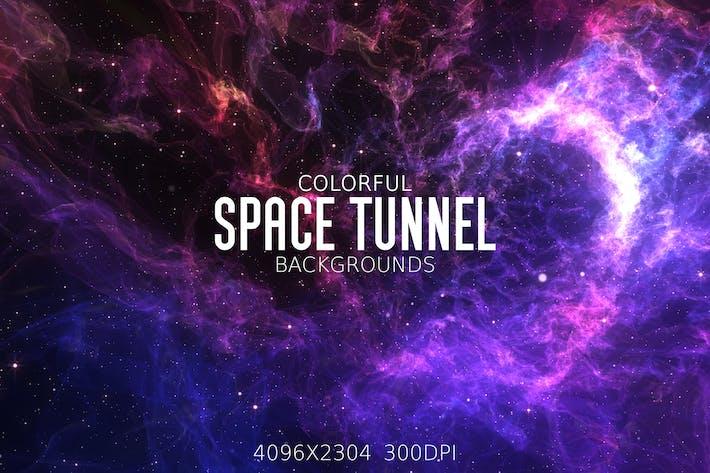 Bunte Raum-Tunnel Hintergründe