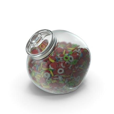 Sphärisches Glas mit zuckerbeschichtetem Gummibärchen