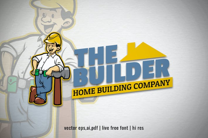 Thumbnail for building worker cartoon logo