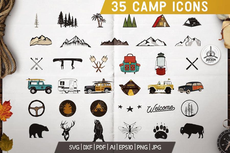 Camp Adventure Icons Set, Retro Travel Clipart