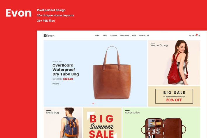 Thumbnail for Evon - eCommerce PSD Template