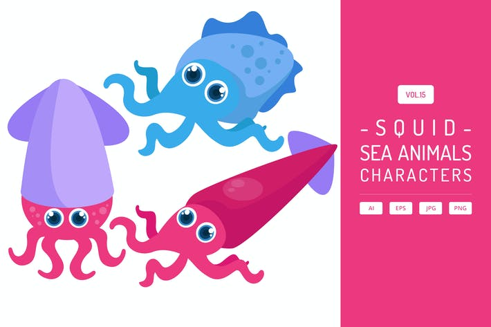 Thumbnail for Cute Squid - Sea Animals Characters Vol.15