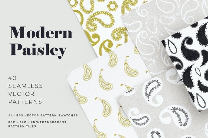 Thumbnail for Modern Paisley Seamless Patterns