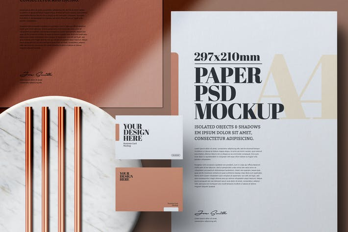 Stationery with Copper Pipes Mockup