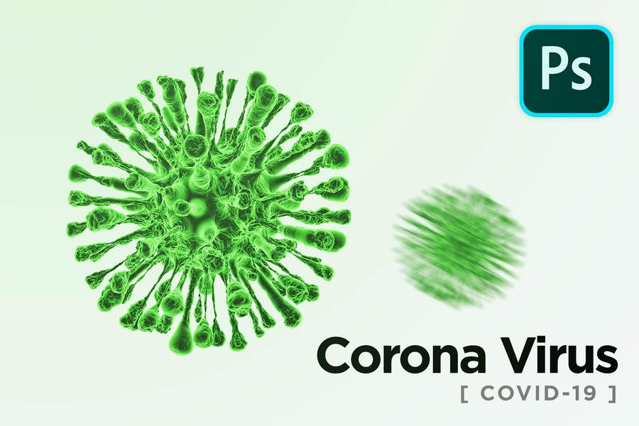 Corona Virus Covid-19 Microbe PSD