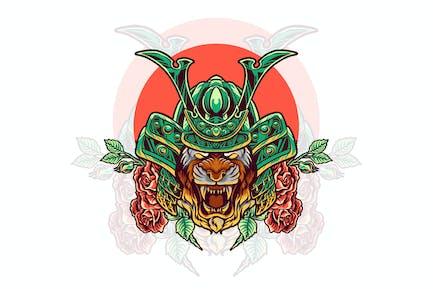 tiger samurai with rose illustration