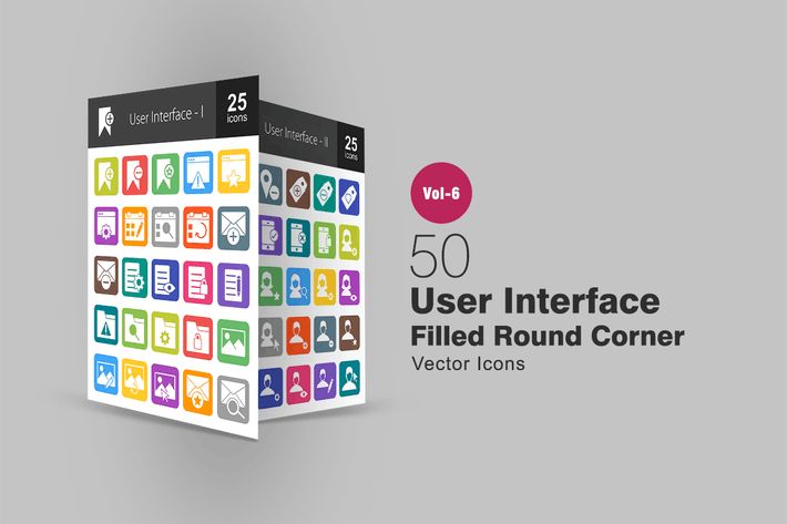 Thumbnail for 50 User Interface Filled Round Corner Icons