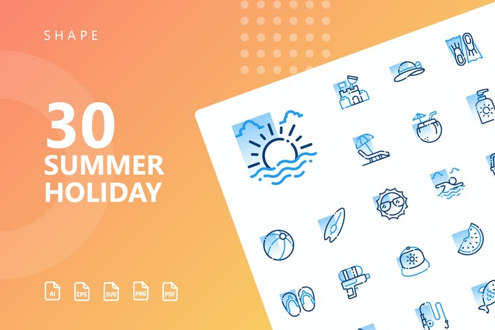 Thumbnail for Summer Holiday Shape Icons