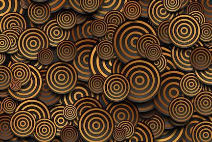 Schwarze Kreise mit goldenen Ringen