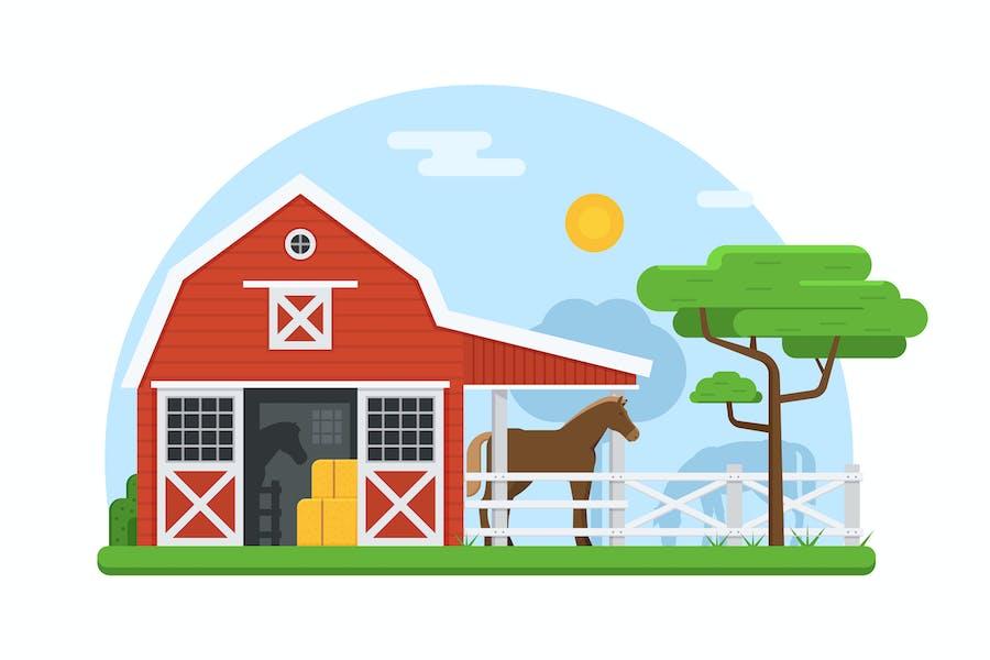 Horse Breeding Farm Stable Concept
