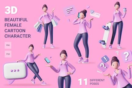 3d female character set
