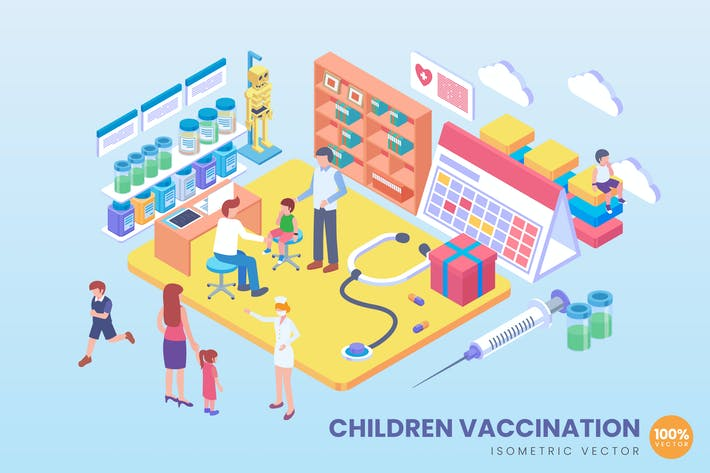 Thumbnail for Isometric Children Vaccination Vector Concept