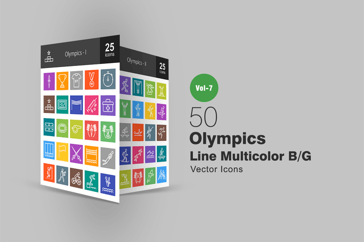 Thumbnail for 50 Olympics Line Multicolor B/G Icons