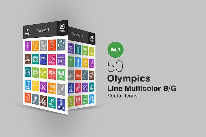 Thumbnail for 50 Олимпийские линии Многоцветный B/G Иконки