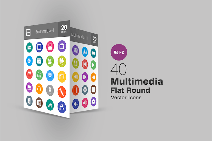 Thumbnail for 40 Multimedia Flat Round Icons