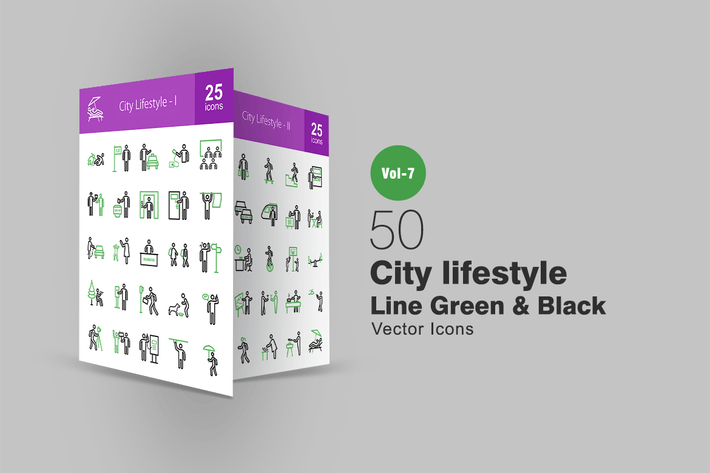 Thumbnail for 50 City Lifestyle Line Green & Black Icons