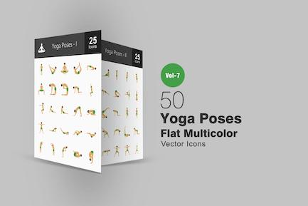 50 Yoga-Posen Flach Multicolor Icons