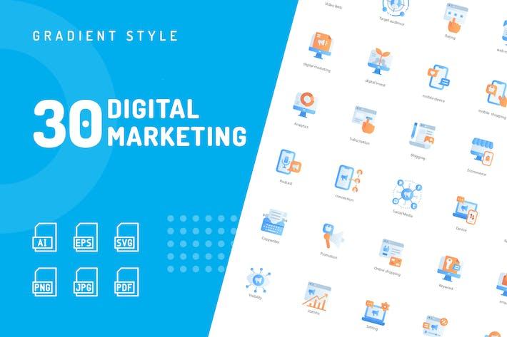 Thumbnail for Digital Marketing Flat Icons
