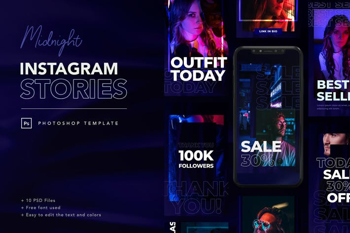 Thumbnail for Midnight Instagram Stories Template