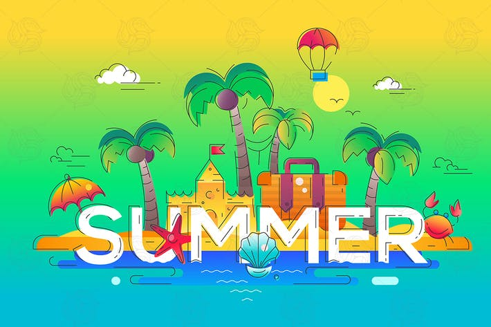 Thumbnail for Summer - vector line travel illustration