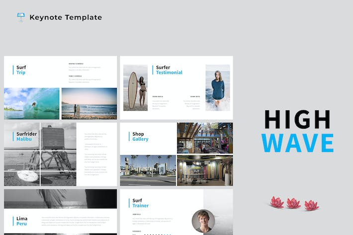 Thumbnail for High Wave - Surfing Keynote Template