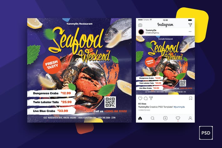 dépliant carré de fruits de mer & Post Instagram
