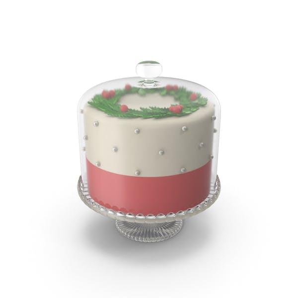 Christmas Cake with Glass Dome