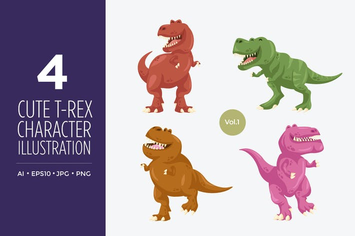 Thumbnail for Cute T-Rex Dinosaur Vector Character Set 1