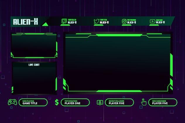 AlienX - Twitch Overlay Template