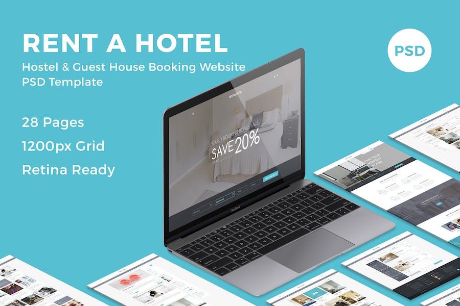 Rent a Hotel - Booking Website PSD Template