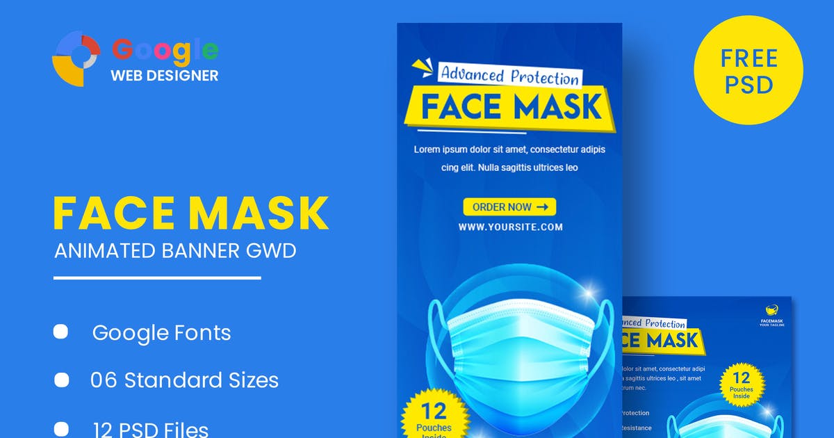 Download Face Mask Animated Banner Google Web Designer by IsLein