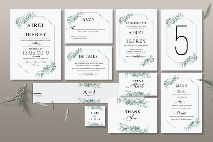 Thumbnail for Foliage Wedding Invitation Suite