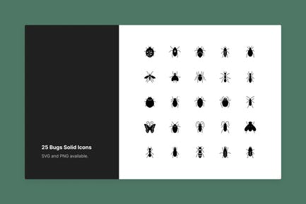Bugs Icon Set - Solid Style