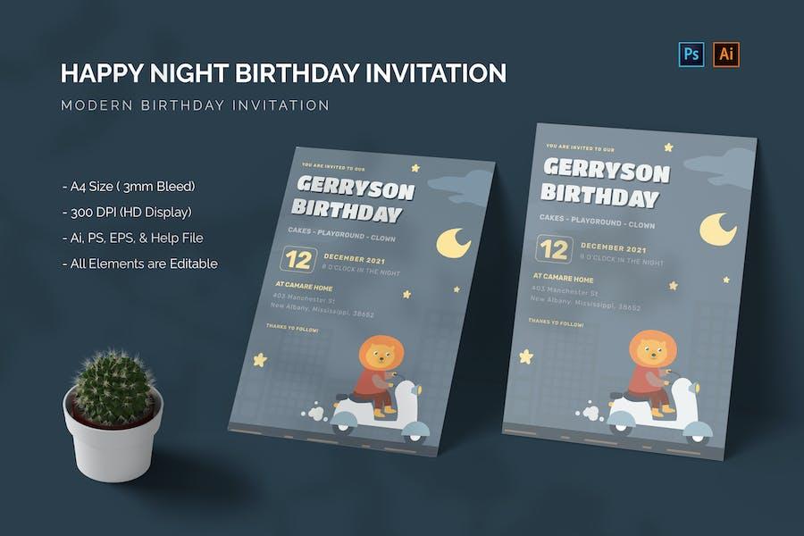 Happy Night - Birthday Invitation