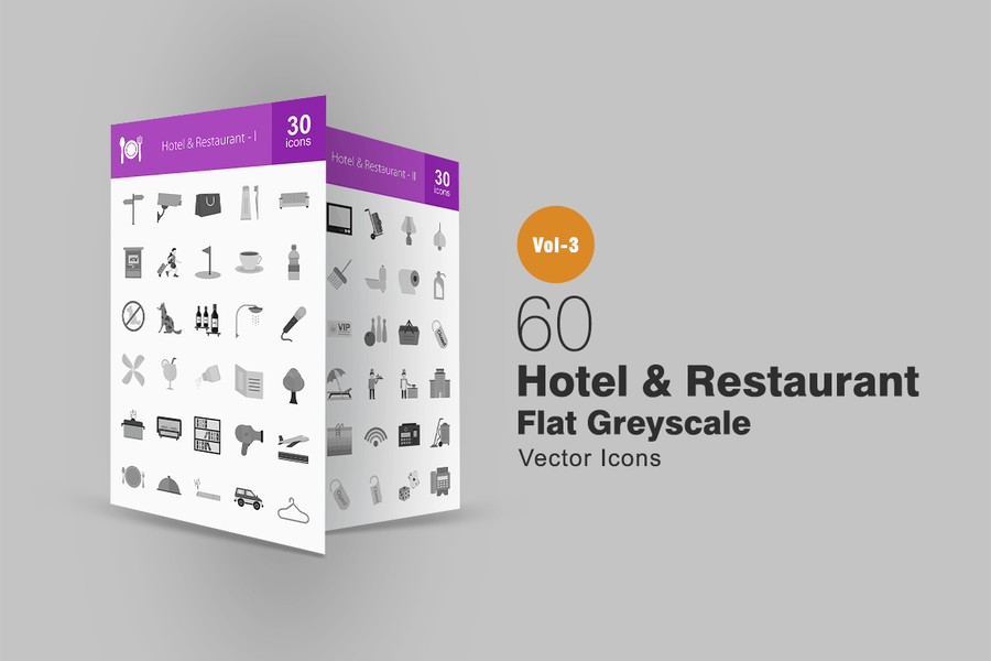 60 Hotel & Restaurant Greyscale Icons
